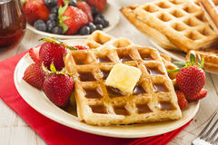Homemade Belgian Waffles with Fruit Royalty Free Stock Image