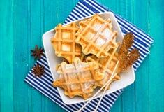 Homemade belgian waffles with sugar powder Stock Photo