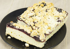 Homemade berries pie. Homemade crumby pie looking tasty and served on a plate Royalty Free Stock Image