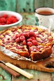 Homemade berry cake with fresh raspberries baked and served in f. Oil vertical Royalty Free Stock Images