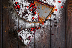 Homemade berry cake on the wood background Royalty Free Stock Photo