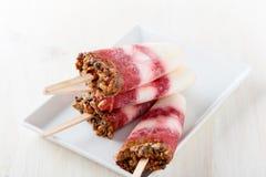 Homemade berry and caramel granola ice cream pops Stock Image