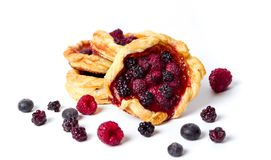 Homemade berry fruit pastry isolated on white Stock Images
