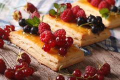 Homemade berry pastry with honey macro. Horizontal Royalty Free Stock Image