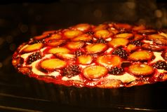 Homemade berry pie with plums and blackberry. Closeup homemade berry pie with plums and blackberry is baked in the oven. Shallow focus stock photo