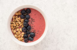 Homemade Berry Smoothie with Blueberries and Granola Stock Photos