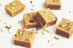 Homemade besan coconut barfi, traditional indian dessert Royalty Free Stock Image