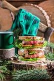 Homemade big sandwich for woodcutter Stock Photos