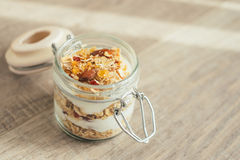 Homemade bircher muesli with toasted rolled oats Royalty Free Stock Photo
