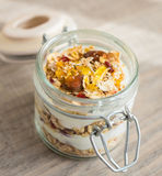 Homemade bircher muesli with toasted rolled oats Stock Photos