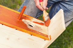 Homemade birdhouse made of wood under construction Royalty Free Stock Images