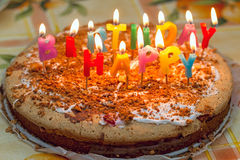 Homemade birthday cake Royalty Free Stock Photos