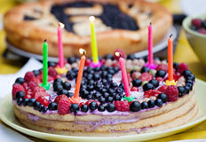 Homemade birthday pie Royalty Free Stock Images