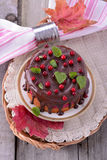 Homemade biscuit cake with cranberry mousse and Stock Photos