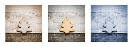 Homemade biscuit in Christmas tree shape on wooden background, triptych in blue, brown and natural colour.  Stock Image