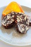 Homemade biscuit salami Royalty Free Stock Image
