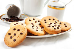 Homemade biscuits and a caff. è on the table in the morning Stock Image