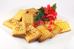 Homemade biscuits and Christmas decorations Royalty Free Stock Image