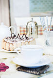 Homemade biscuits and a cup of tea on the table. Homemade cake and cup of tea on the table. Table setting Stock Photo
