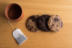 Homemade biscuits with a cup of tea Stock Images