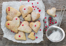 Homemade biscuits in the form of hearts Royalty Free Stock Images