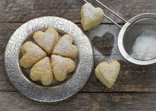 Homemade biscuits in the form of hearts Royalty Free Stock Photos