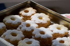 Homemade biscuits in a metallic box ready for a present Royalty Free Stock Photography