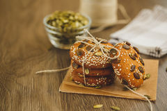 Homemade biscuits with sesame seeds and chocolate Royalty Free Stock Images