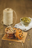 Homemade biscuits with sesame seeds and chocolate Stock Photography