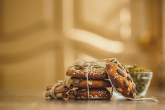 Homemade biscuits with sesame seeds and chocolate Stock Image