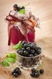 Homemade black currant jelly Stock Photo