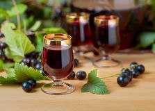 Homemade black currant liqueur and fresh berries . Homemade black currant liqueur and fresh berries on a branch , wooden background royalty free stock photos