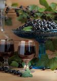 Homemade black currant liqueur and fresh berries . Homemade black currant liqueur and fresh berries on a branch , wooden background stock photos