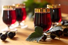 Homemade black currant liqueur and fresh berries. Homemade black currant liqueur and fresh berries, wooden background stock images
