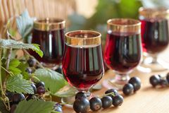Homemade black currant liqueur and fresh berries. Homemade black currant liqueur and fresh berries, wooden background royalty free stock photos