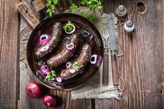 Homemade black pudding on pan Stock Photography