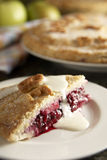 Homemade blackberry and apple pie. Made with homegrown apples and wild blackberries from England. Serving with fresh cream.See all my food & drink images here royalty free stock image