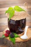 Homemade blackberry jam in the jar Stock Photos