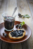 Homemade blackcurrant jam. Rustic style Stock Image