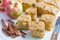 Homemade blondie (blonde) brownies apple cake, square slices on parchment Royalty Free Stock Photos