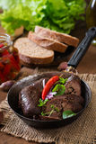 Homemade blood sausage with offal Royalty Free Stock Photos