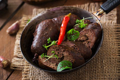 Homemade blood sausage with offal Stock Photos