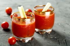 Homemade Bloody Mary tomato cocktail. Served with fresh celery royalty free stock photo