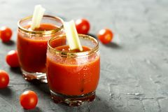 Homemade Bloody Mary tomato cocktail. Served with fresh celery royalty free stock photography
