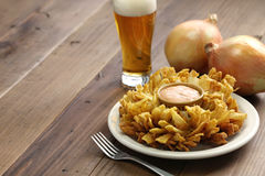 Homemade blooming onion and beer. American food Royalty Free Stock Image