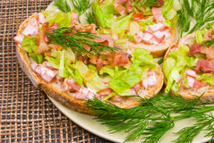 Homemade blt sandwiches - appetizers Royalty Free Stock Photo