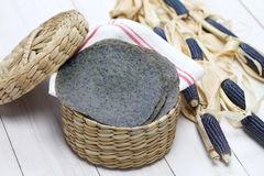 Homemade blue corn tortilla Stock Photos
