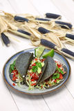 Homemade blue corn tortilla tacos stock image