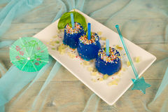 Homemade blue ice pops Royalty Free Stock Photos