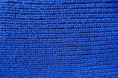 Homemade blue knit stitch fabric from above. Homemade blue plain knit stitch fabric from above Stock Photography